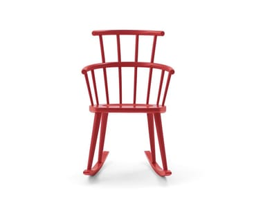 Rocking lacquered high-back chair W. | Rocking chair