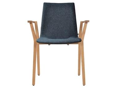 Gepolsterter stapelbarer Stuhl aus Stoff mit Armlehnen ALEC PLUS | Stuhl mit Armlehnen