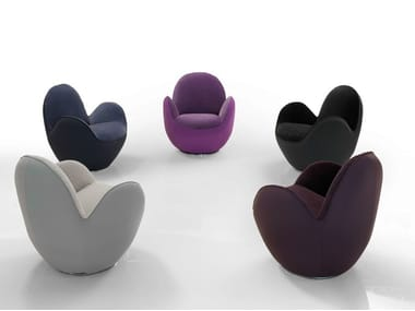 Swivel fabric armchair with armrests AIRCELL