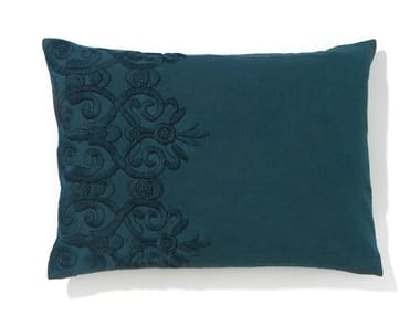 Rectangular hand embroidered cotton cushion with removable cover SAMANDAR
