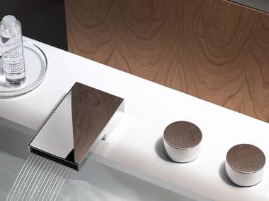 Rubinetto per lavabo a 3 fori con rosette separate DEQUE | Rubinetto per lavabo