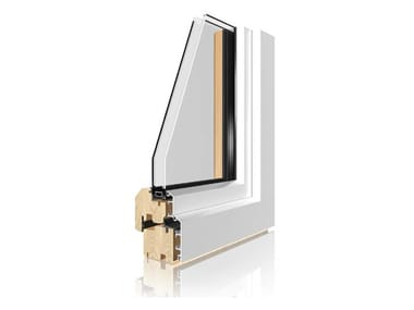 Aluminium and wood double glazed window UNI_ONE STANDARD