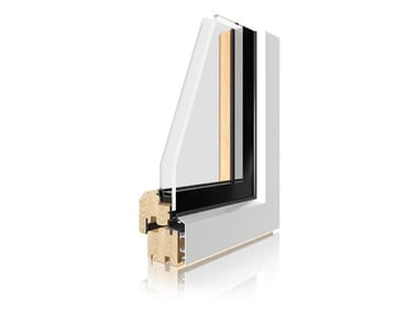 Aluminium and wood double glazed window UNI_ONE INTEGRAL
