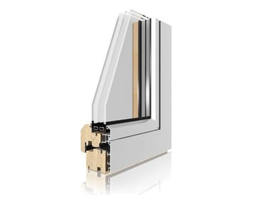 Aluminium and wood triple glazed window UNI_ONE COPLANAR