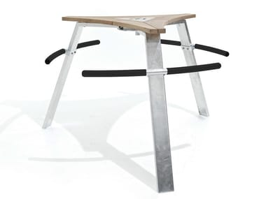 Stainless steel and wood high table ABACHUS