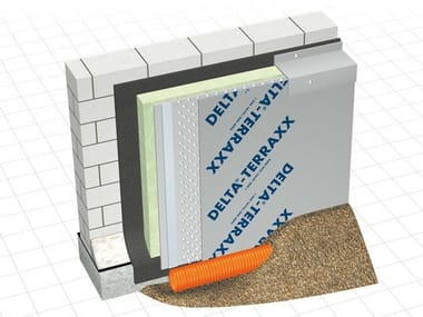 Earth retaining wall drainange and protection system DELTA® - TERRAXX