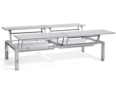 Extending Rectangular garden side table TRENTO TIP-UP | Coffee table