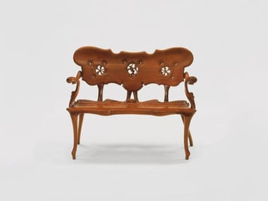 Solid wood bench with back CALVET | Bench