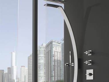 Wall-mounted shower panel with overhead shower LUNA | Shower panel