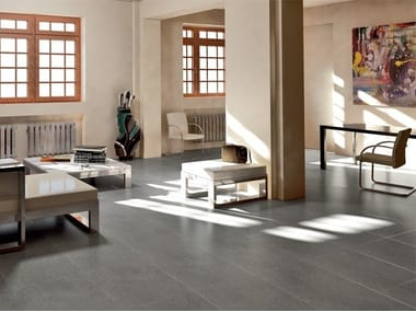 Full-body porcelain stoneware wall/floor tiles with stone effect PIETRE HIGH-TECH - BASALTO GRIGIO