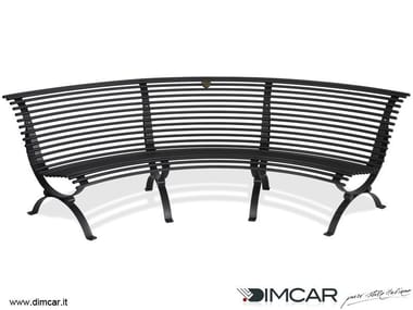 Curved galvanized steel Bench with back Panchina Clematis seduta lato concavo