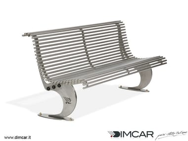 Contemporary style stainless steel Bench with back Panchina Luxe in acciaio inox