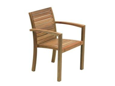 Sedia da giardino in teak con braccioli IXIT | Sedia da giardino