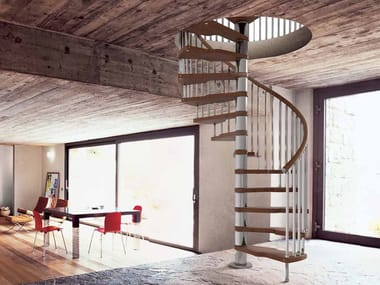 Stainless steel and wood Spiral staircase GENIUS 020 + 2:Easy