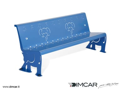 Contemporary style metal Bench with back Panchina Dumbo