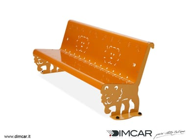 Contemporary style metal Bench with back Panchina Kimba