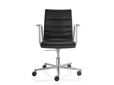 Leather task chair with 5-Spoke base with armrests with casters FINA   Task chair with armrests