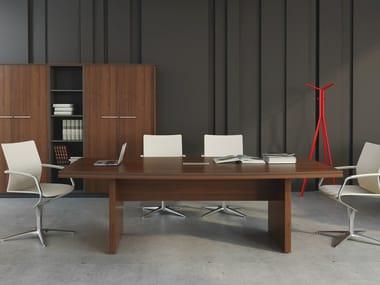 Rectangular melamine-faced chipboard meeting table STATUS | Rectangular meeting table