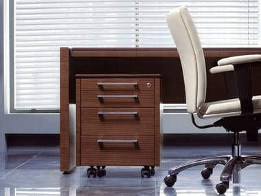 Wooden office drawer unit with casters STATUS | Office drawer unit
