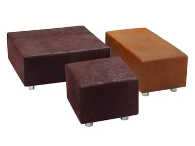 Upholstered leather ottoman INDIA
