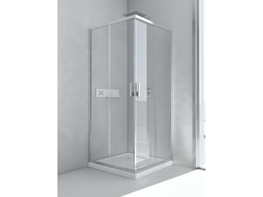 Glass and aluminium shower cabin with sliding door EVOLUTION A