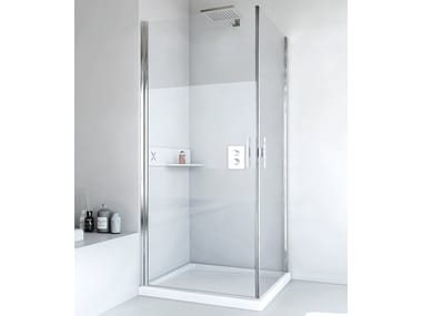 Corner glass and aluminium shower cabin with hinged door LIGHT AB + AB