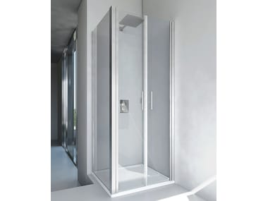 Corner glass and aluminium shower cabin VERSUS B2 + F2