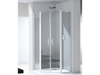 Glass and aluminium shower cabin with pivot door LIGHT PE
