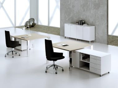 Square steel and wood office desk MINIMAX | Square office desk