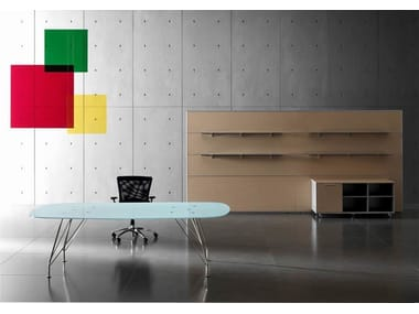 Crystal and stainless steel executive desk MEETING | Crystal and stainless steel office desk