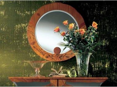 Wall-mounted framed round mirror ZEBRANO | Round mirror