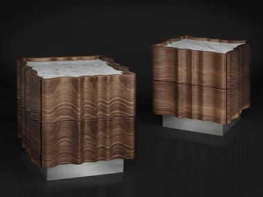 Square walnut bedside table with drawers IL PEZZO 2 | Bedside table