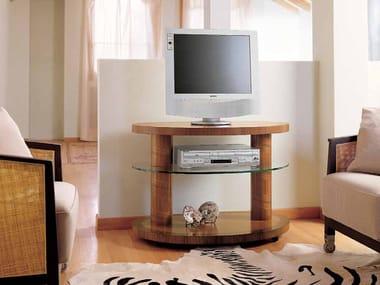 Walnut TV cabinet with castors ZEBRANO | TV cabinet