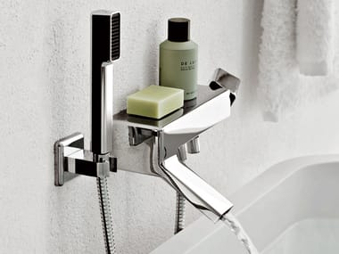 Wall-mounted bathtub mixer with hand shower FARAWAY | Wall-mounted bathtub mixer