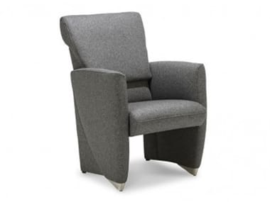 Upholstered armchair with headrest with footstool CORBO