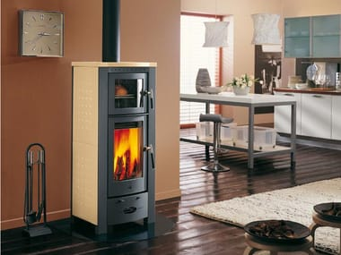 Wood-burning stove with Oven for air heating E911 | Wood-burning stove