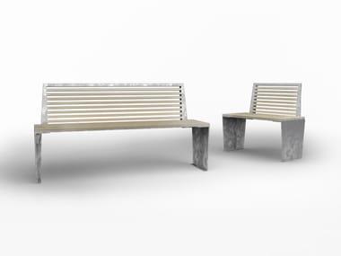 Panchina riciclabile in metallo con schienale MARILYN ECO