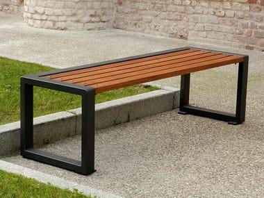 Panchina in acciaio e legno senza schienale TITTA - LINE