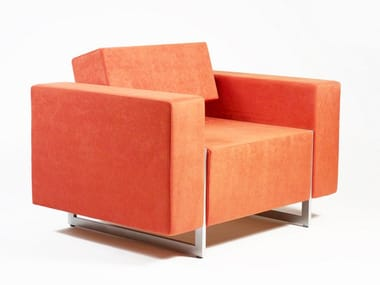 Upholstered armchair with armrests BOX | Armchair