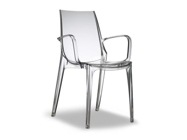 Stackable polycarbonate chair with armrests VANITY | Chair with armrests