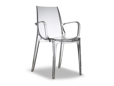 Sedia impilabile in policarbonato con braccioli VANITY | Sedia con braccioli