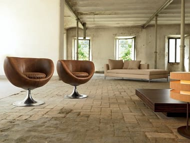 Swivel upholstered armchair ZEROTTANTUNO | Leather armchair