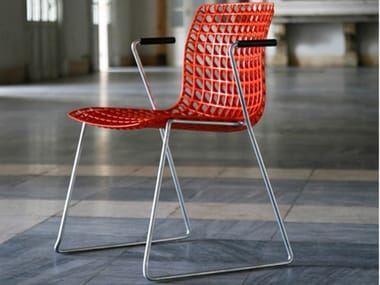 Sled base stackable chair MOIRÈ | Sled base chair