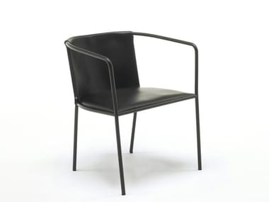 Leather chair with armrests MAJA D