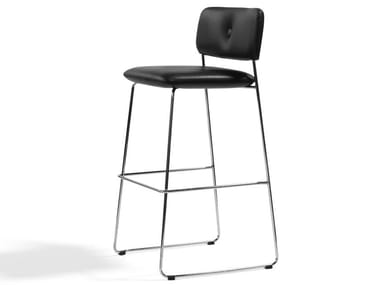 Stackable sled base chrome plated steel stool with back DUNDRA | Stool