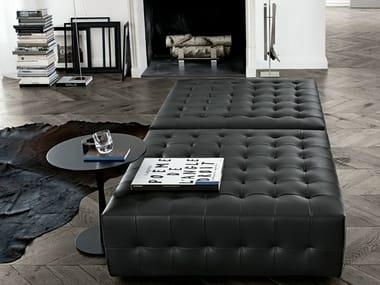 Upholstered leather pouf GANT