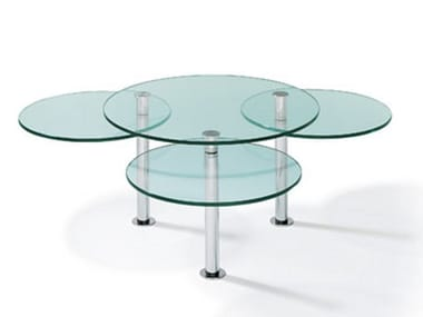 Adjustable glass and steel coffee table K 180 | Coffee table