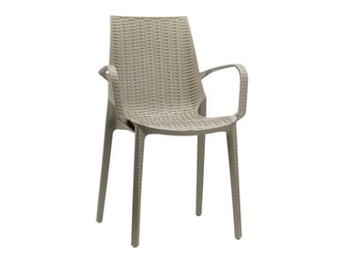 Stackable polypropylene garden chair with armrests LUCREZIA | Chair with armrests
