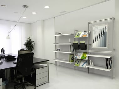 Modular extruded aluminium office shelving INUNO | Modular office shelving
