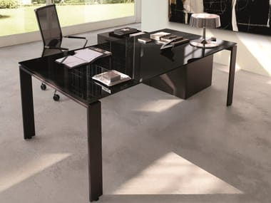 Rectangular wooden office desk BUSINESS | Office desk